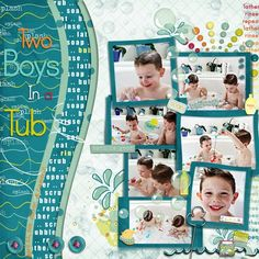 """Two Boys In a Tub"".  This is such a fun layout.  Great for time at the pool too!"