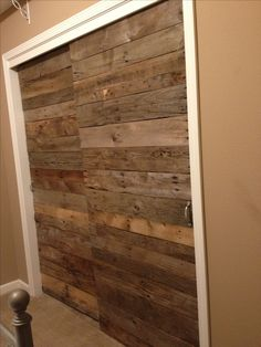 Pallet wood sliding closet doors
