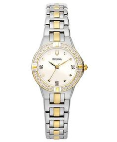 Bulova Women's Diamond Accent Two-Tone Stainless Steel Bracelet Watch 28mm 98R166  Web ID: 802454 Reg. $425.00 Sale $340.00 EXTRA 10% OFF with Promo Code: SHINE