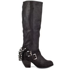 You'll be able to mix and match any outfit when you have this Naughty Monkey boot.  The Mix Master showcases a supple black leather upper with a shaft height of 15 inches from insole to top.  Buckles wrap the vamp while a spiky cuff partially hides a 3 inch heel.