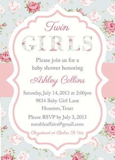 Twin Girls Shabby Chic Cottage Roses Baby Shower invitation