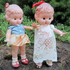 Girl Kewpie Doll Knickerbocker Lace Dress Plastic 1950s by ddb7, $21.00
