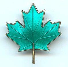 AKSEL HOLMSEN Sterling Silver Green Enamel Maple Leaf Brooch