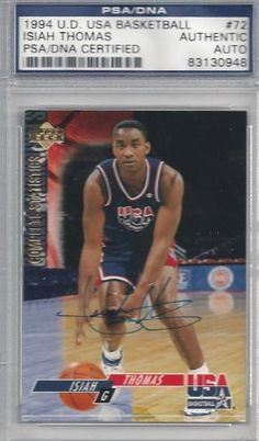 Isiah Thomas Autographed 1994 UD Team USA Card  72 PSA DNA Slabbed .   29.00. This is a 1994 UD USA Basketball card  72 that has been hand signed  by Isiah ... 40a971f6a