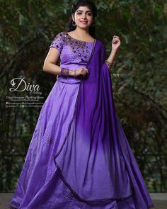 WhatsApp on 9496803123 to customise handcrafted bridal and partywear attire. New Modern Dress, Dress Muslim Modern, Half Saree Lehenga, Cotton Lehenga, Lehenga Suit, Silk Lehenga, Half Saree Designs, Choli Designs, Kerala Engagement Dress