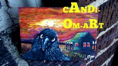 ACEO ART CARD ORIGINAL PAINTING Gothic Raven Fall Sunset (2.5x3.5in.)#12  #Miniature
