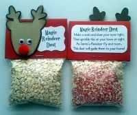"""Magic Reindeer Dust """"Sprinkle this magic Reindeer dust outside upon your lawn, and as Santa's Reindeer fly and roam this dust will lead them to your home!"""" Our Pop-In-Kins is going to leave a bag of this dust for our daughter on Christmas Eve :)"""