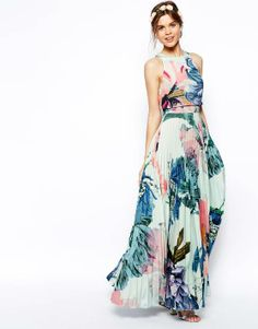 ASOS SALON Pleated Crop Top Maxi Dress - Asos