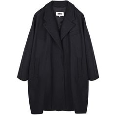 MM6 Maison Martin Margiela   Cocoon Felt Wool Coat   My Chameleon (€570) ❤ liked on Polyvore featuring outerwear, coats, jackets, coats & jackets, tops, cocoon coat, mm6 maison margiela, wool coat, woolen coat and felt coat