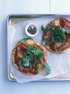 prosciutto, bocconcini and tomato pizzas