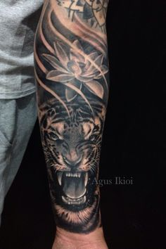Half sleeve tiger tattooart