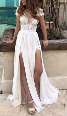 Cap Sleeves Beach Wedding Dress,Sexy Split Prom Dresses,Lace Applique Prom Gown,Long Prom Dresses,Wedding Dress,Lace Wedding Dresses,Beach Wedding Dress