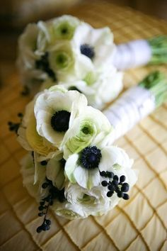 Anemone Arrangements, Wedding Flowers Photos by Rambunktious Productions