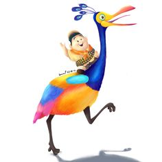 Russell with Kevin the bird from the movie UP. Disney Up, Arte Disney, Disney And More, Disney Fan Art, Disney Pixar, Up Pixar, Cute Cartoon Drawings, Disney Drawings, Cartoon Tv Shows