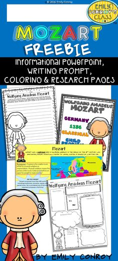 This freebie is the perfect way for students to learn or review facts about Mozart. It includes a PowerPoint Presentation (with facts about Mozart's life), writing prompt, coloring and research pages! Music Lessons For Kids, Music Lesson Plans, Music For Kids, Piano Lessons, Preschool Music, Music Activities, Mozart For Kids, Amadeus Mozart, Wolf