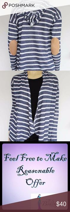 NWT STRIPE HOODED CARDIGAN W/ PATCH BRAND NEW STRIPE HOODED CARDIGAN W/ PATCH.  THIS CARDIGAN IS SO SOFT AND WORM.  IT WILL MAKE A GREAT ADDITION TO YOUR WARDROBE FOR ANY TIME OF THE YEAR AND WILL MAKE YOU LOOK STYLISH AS WELL AS COMFORTABLE.    COLOR:NAVY/WHITE WITH BROWN PATCH AT THE ELBOW. TES BOUTIQUE Sweaters Cardigans