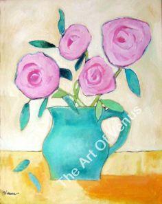 Original Painting Art Print PINK ROSES Still Life Impressionism Flowers Wall Art #Impressionism