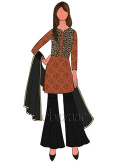 Buy Orange Art Silk Brocade Sharara Suit online, SKU Code: SLBS1803785. This Black  color Party sharara suit for Women comes with Sequins  Net . Shop Now! Fashion Drawing Dresses, Fashion Illustration Dresses, Fashion Illustrations, Dress Design Sketches, Fashion Design Sketches, Drawing Sketches, Sketching, Latest Salwar Kameez Designs, Fashion Model Sketch