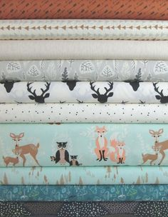 "Bonnie Christine, Hello Bear, Timber in FAT QUARTERS 10 Total  Each Fat Quarter  Measures: 18""x 21/22""  You will receive a Fat Quarter of each of the following:  Adventure Bark Follow Me Moonlight Wildwood Birch Leaflet Dawn Buck Forest Night Firefly Whisper Oh, Hello Meadow Timberland Dew Morel Grove Pond Summit Twilight  Fiber Content: 100% Cotton  If you would like to have a 1/2 yard of each print, please enter 2 in the Qty Box.    Yardage is cut in one continuous piece.  Hover over image…"
