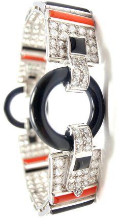 CARTIER Art Deco Platinum 10.34ct Diamond, Onyx, Coral Bracelet
