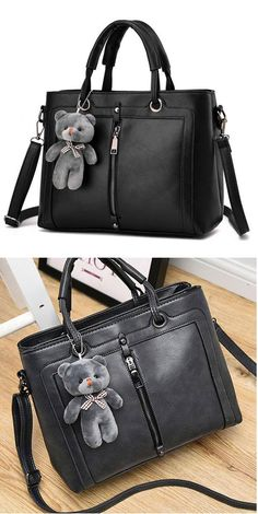 Retro Solid Color Zipper Shoulder Messenger Bag Bear Handbag for big sale! #bag #shoulder #Messenger #women