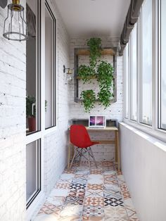 An industrial home office with a small desk, tiled floors and whitewashed brick walls - 24 ideas for organizing a freelance workspace at home - Key Interior Designers - Dekoration - Balcony Furniture Design Interior Balcony, Apartment Balcony Decorating, Balcony Furniture, Apartment Balconies, Interior Decorating, Interior Design, Decorating Games, Small Balcony Decor, Small Balcony Design