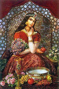 Iran Politics Club: Hojatollah Shakiba - Part Persian Colonial Miniatures… Ancient Persian, Ancient Art, Arabian Art, Persian Culture, Floral Nursery, Whimsical Nursery, Nursery Wallpaper, Arabian Nights, Fantasy