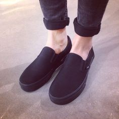 All Black Slip-On Vans all black vans! worn but still in good condition :) Vans Shoes Sneakers