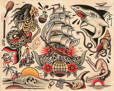 Super Tattoo Old School Traditional Flash Art Ideas Shark Tattoos, Maori Tattoos, Sleeve Tattoos, Dessin Old School, Tatuagem Old Scholl, Traditional Tattoo Design, Traditional Styles, American Traditional, Tattoo Tradicional