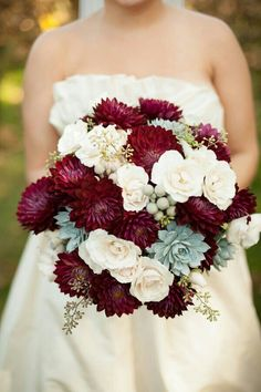 Wine Colored Dahlias, Creamy Ivory Garden Roses, Silver Brunia, Green Succulents, & Seeded Eucalyptus^^^^