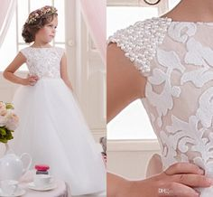 2016 Lace Pearls Off Shoulder Tulle Flower Girl Dresses Vintage Child Pageant Dresses Beautiful Flower Girl Wedding Dresses F02 Online with $72.07/Piece on Weddingmall's Store   DHgate.com