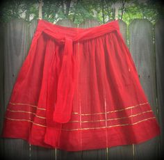 Vintage Red & Gold Trim Sheer Apron. $17.99 (free shipping)