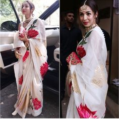 Malaika Arora Goes All aTraditional In Rohit Bal Gorgeous Saree At Her Fashion Stylist Wedding - HungryBoo Indian Wedding Outfits, Indian Outfits, Indian Dresses, Indian Clothes, Drape Sarees, Organza Saree, Trendy Sarees, Stylish Sarees, Hand Painted Sarees