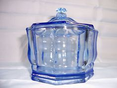 Vintage Indiana Glass 8 Sided Ice Blue Covered Confections or Candy Dish Bowl | eBay