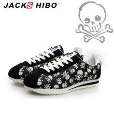 spring summer luxury brand women casual shoes,light originality skull heads print Cortez Hip hop woman flat shoes - Skull Clothing and Accessories - 1