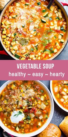 Vegetable Soup Recipe with fresh or frozen vegetables. Make vegetable soup on th… Vegetable Soup Recipe with fresh or frozen vegetables. Make vegetable soup on the stove, in Instant Pot or slow cooker. Healthy, simple and delicious easy veggie soup! Vegetable Soup Healthy, Vegetable Soup Recipes, Easy Soup Recipes, Healthy Vegetables, Easy Healthy Recipes, Vegetarian Recipes, Slow Cooker Veggie Soup, Health Recipes, Chicken Vegetable Soups