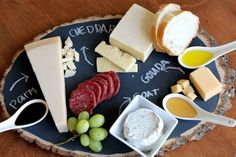 IMG 2505 DIY chalkboard cheese platter - @Lauren Allison perfect use for your wedding chalkboard.