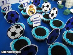 Real Madrid Soccer Themed Party  soccercupcakes  soccer  cupcakes  blue   party  sports 817a26a8f9364
