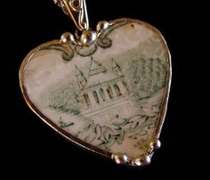 Antique Teal English Transferware Broken China Jewelry Heart Pendant necklace castle
