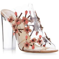 Paul Andrew Blossom Embellished Sandals ($562) ❤ liked on Polyvore featuring shoes, sandals, heels, heeled sandals, floral shoes, clear shoes, floral print sandals and flower sandals