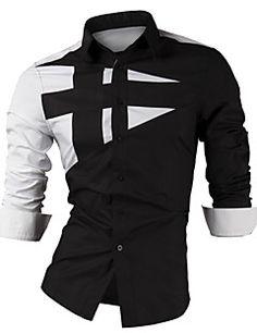Masculino Camisa Casual / Escritório / Tamanhos Grandes Xadrez / Cor Solida Manga Comprida Misto de AlgodãoPreto / Roxo / Vermelho /