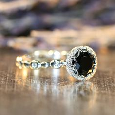 Floral Black Spinel Diamond Engagement Ring in 14k by LaMoreDesign