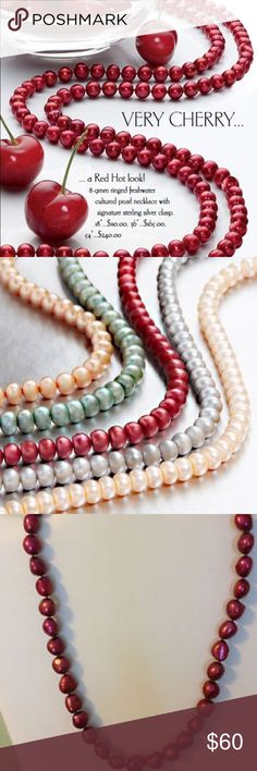 Freshwater Culture Pearl Necklace 18 inches, color cherry, sterling silver clasp, authentic freshwater cultured pearls from the HONORA Collection Honora Jewelry Necklaces