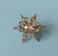 Vintage Rhinestone Snowflake Pin Brooch