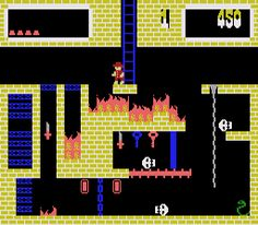 Montezuma's Revenge was a great Colecovision game.  Indiana Jones meets 2D.  There were keys to get, flames, conveyor belts, spiders, traps, chains to climb, just great.