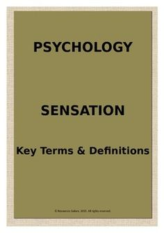 This is an excellent resource for revising the key concepts in Sensation. This can be used as a classwork activity or as a homework task. Check out more quality, ready-to-use resources:More from Resources GaloreFollow me on:PinterestCLICK on the green FOLLOW ME button and be the first to know when new resources become available!Thank you for visiting my store!PrathibaHow to get TPT credit to use on future purchases: Go to your My Purchases page.