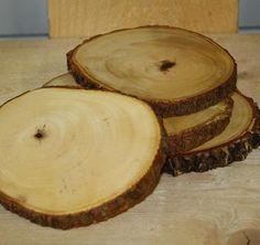 """""""schijven boom"""" als onderzetter. Per twee stuks € 5,25. Fairtrade!"""