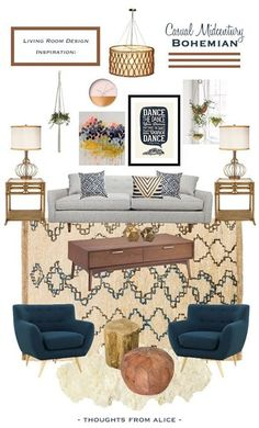 Thoughts from Alice: Casual Midcentury Bohemian Living Room Design Inspiration Mid Century Modern Living Room Alice Bohemian Casual Design Inspiration Living MidCentury Room Thoughts Bohemian Living Rooms, Bohemian Decor, Living Room Decor Grey Couch, Target Living Room, Bohemian Style, Blue And Green Living Room, Boho Chic, Bohemian House, Modern Bohemian