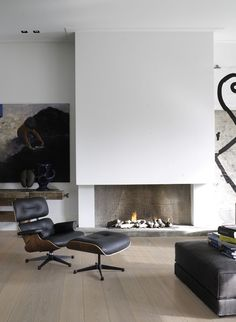 fireplace, Eames chair Styling by Karin Meyn