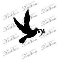 Marketplace Tattoo Head Up Bird W Bass Clef #14980   CreateMyTattoo.com